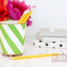 ที่ใส่ดินสอ ทำจากแก้วใส ระบายสี