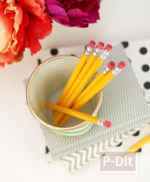 รูป 4 ที่ใส่ดินสอ ทำจากแก้วใส ระบายสี