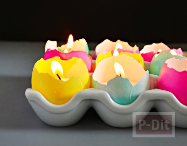 เป่าเทียนวันเกิด จากเปลือกไข่ ใส่เทียน