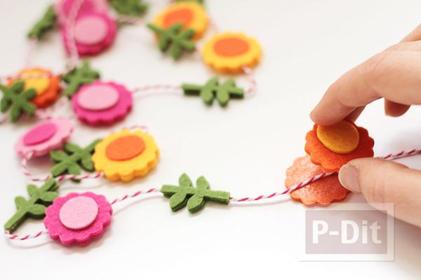 รูป 1 โมบายดอกไม้ ทำจากผ้าสักกะหลาด