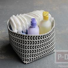 ประดิษฐ์ตะกร้าผ้า ใบเล็ก ใส่ของ