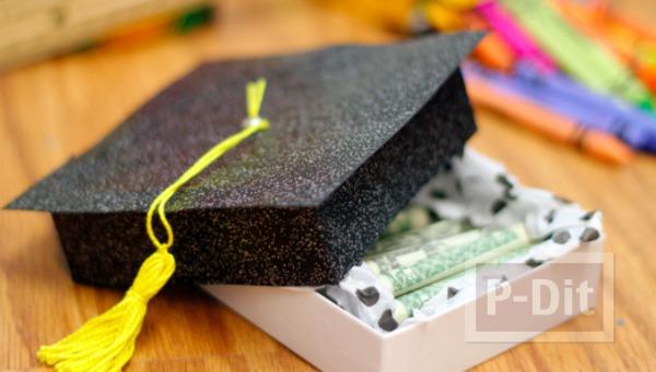 ของขวัญวันรับปริญญา เงินในกล่องหมวก