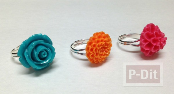 แหวนดอกไม้ ทำเองสีสวย