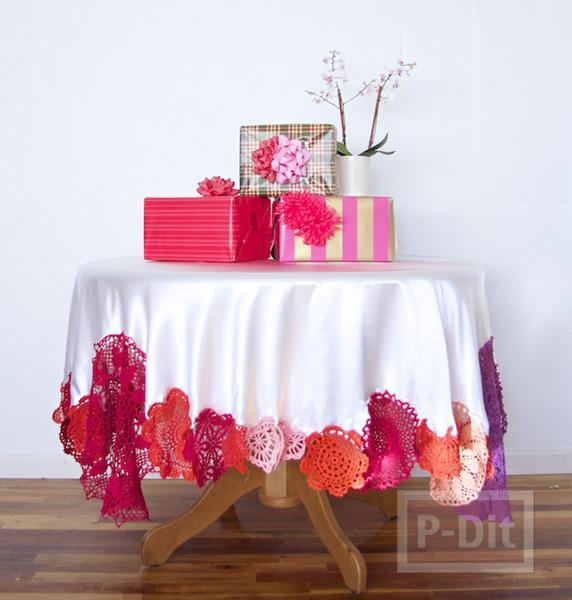 ขอบผ้าปูโต๊ะ ตกแต่งดอยลี่ สีสวย