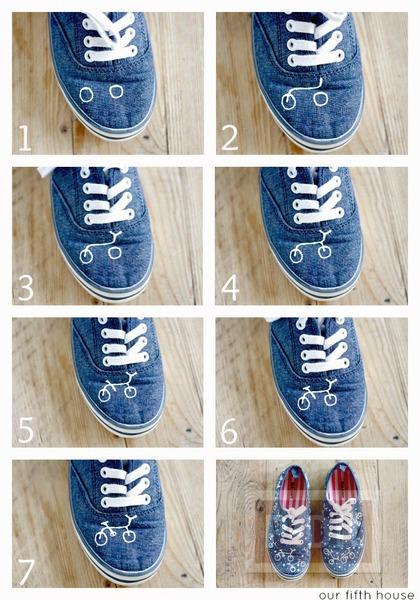 รูป 4 รองเท้าผ้าใบ วาดลายจักรยาน
