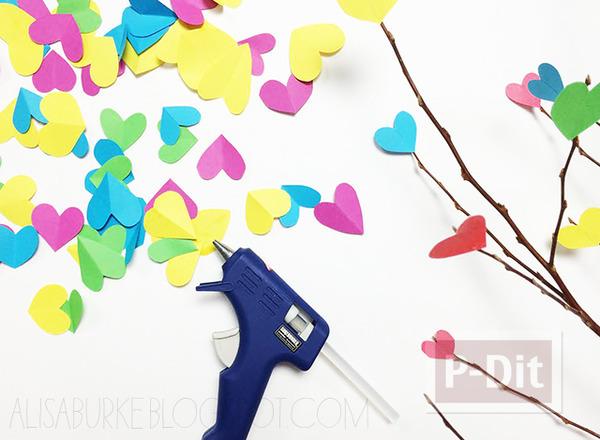 รูป 2 ของประดับบ้าน ต้นไม้กระดาษ รูปหัวใจ