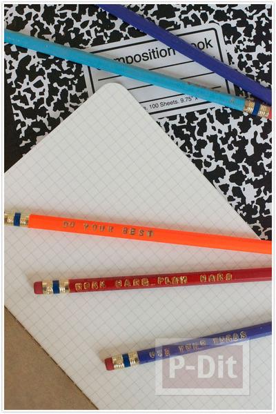 รูป 5 ดินสอไม้ ปั้มตัวอักษร