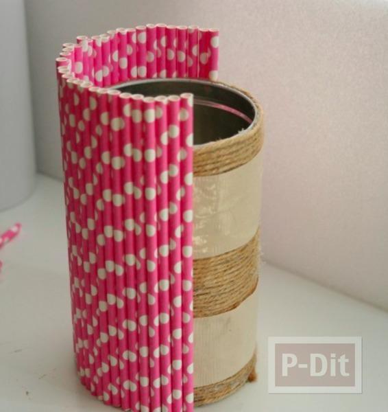 รูป 6 แจกันสวยๆ ทำจากหลอด กระป๋อง และเชือก