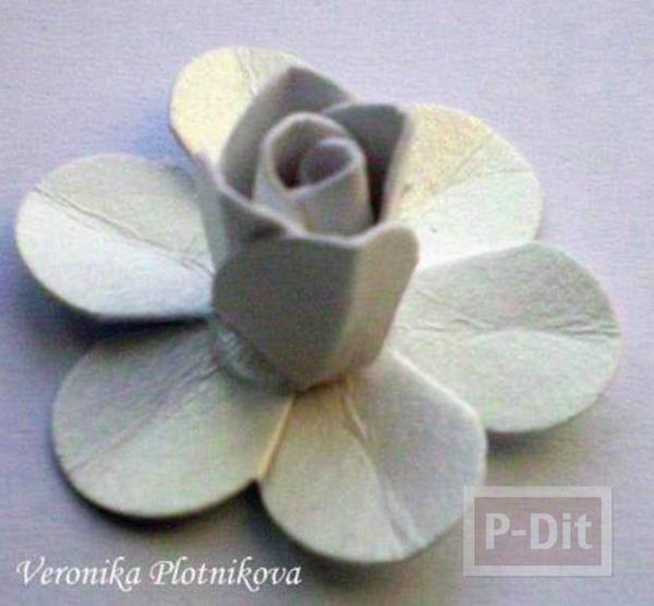 รูป 7 สอนทำดอกกุหลาบ จากกระดาษกล่อง