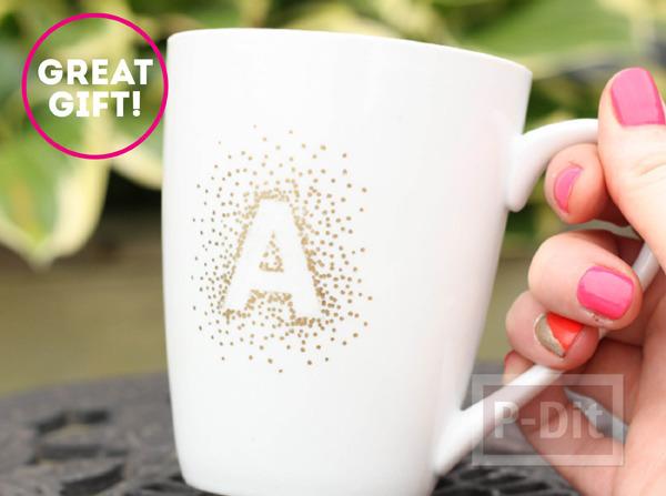 แก้วกาแฟ ตกแต่งลายน่ารัก แบบง่ายๆ