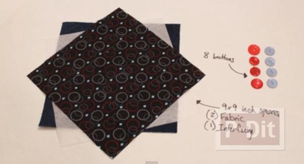 รูป 2 เย็บตะกร้าใส่ของ จากเศษผ้าและกระดุม