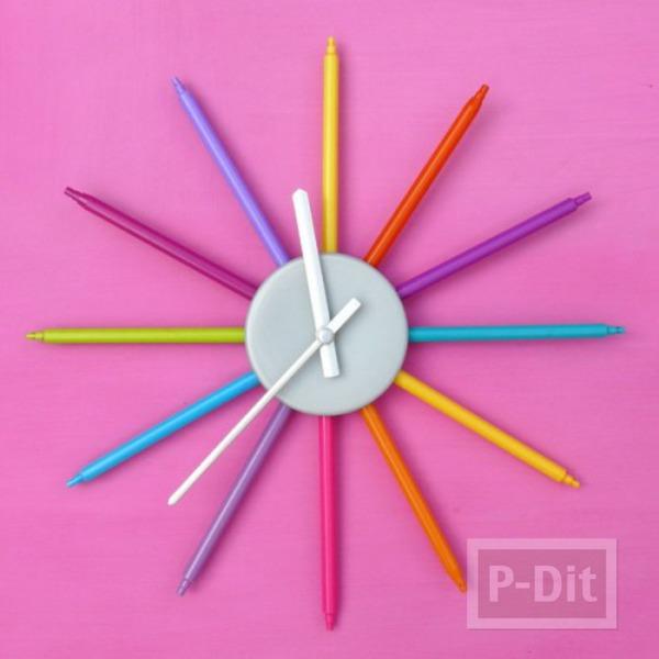 สอนทำนาฬิกา ติดผนัง ตกแต่งด้วยสีเมจิก