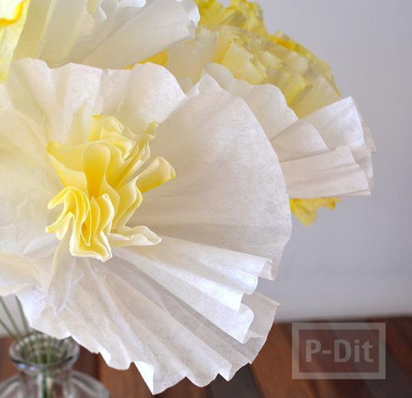 รูป 2 ดอกไม้กระดาษ ทำจากถ้วยคัพเค้ก ย้อมสี