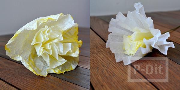 รูป 3 ดอกไม้กระดาษ ทำจากถ้วยคัพเค้ก ย้อมสี