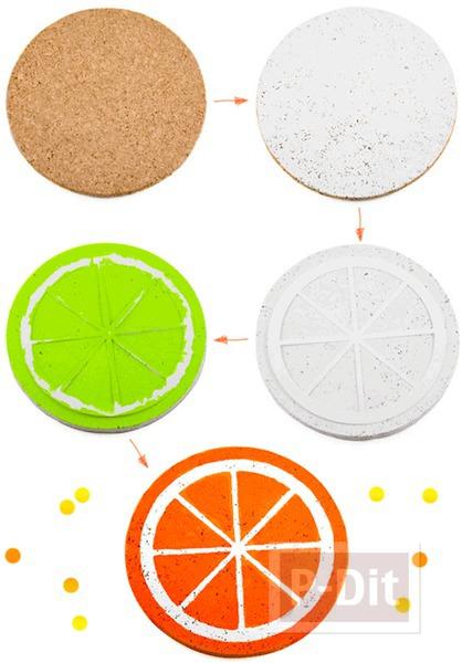 รูป 4 จานรองชาม ตกแต่ง ลายกลีบส้ม