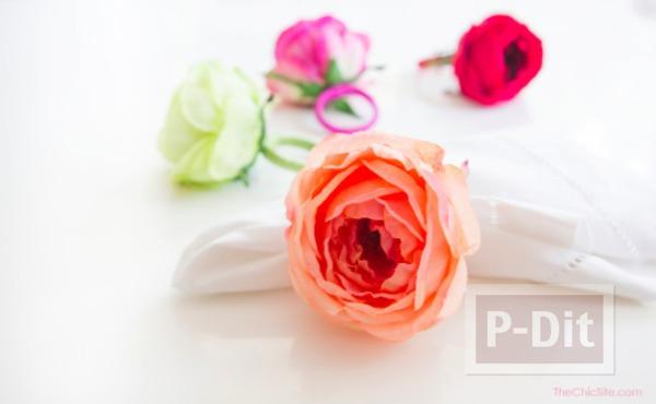 รูป 1 ไอเดียทำห่วงคล้องผ้าเช็ดมือ จากดอกไม้สด