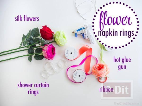 รูป 2 ไอเดียทำห่วงคล้องผ้าเช็ดมือ จากดอกไม้สด