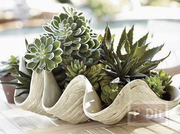 แจกันดอกไม้ ทำจากพลาสติก ลายหอย