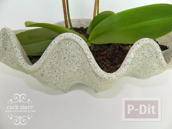 รูป 4 แจกันดอกไม้ ทำจากพลาสติก ลายหอย