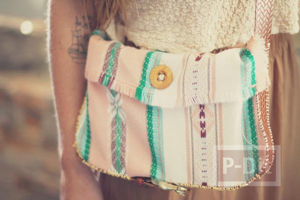 กระเป๋าสะพาย ทำเองจากเข็มขัด และผ้าพันคอ