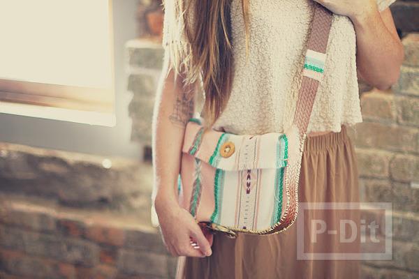 รูป 2 กระเป๋าสะพาย ทำเองจากเข็มขัด และผ้าพันคอ
