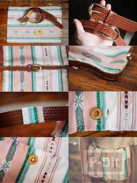 รูป 4 กระเป๋าสะพาย ทำเองจากเข็มขัด และผ้าพันคอ