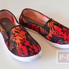 รองเท้าผ้าใบ ย้อมสี ติดผ้าลูกไม้