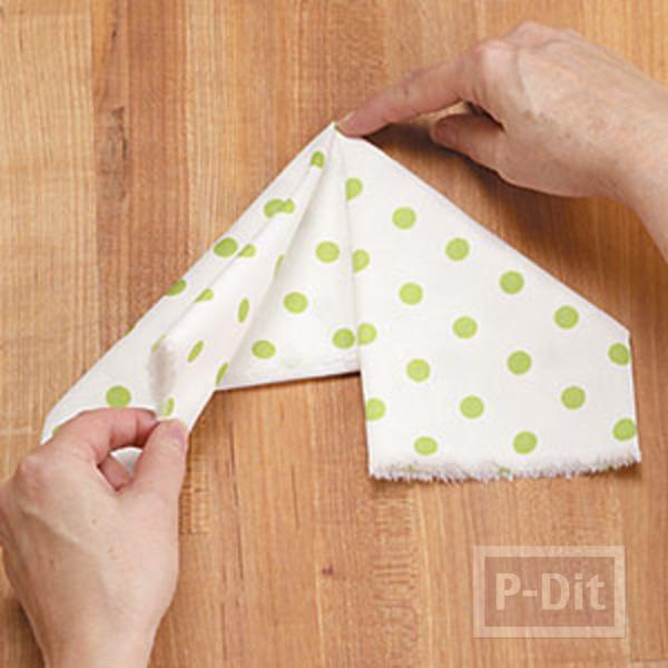 รูป 2 พับผ้าเช็ดมือ ลายกระต่าย
