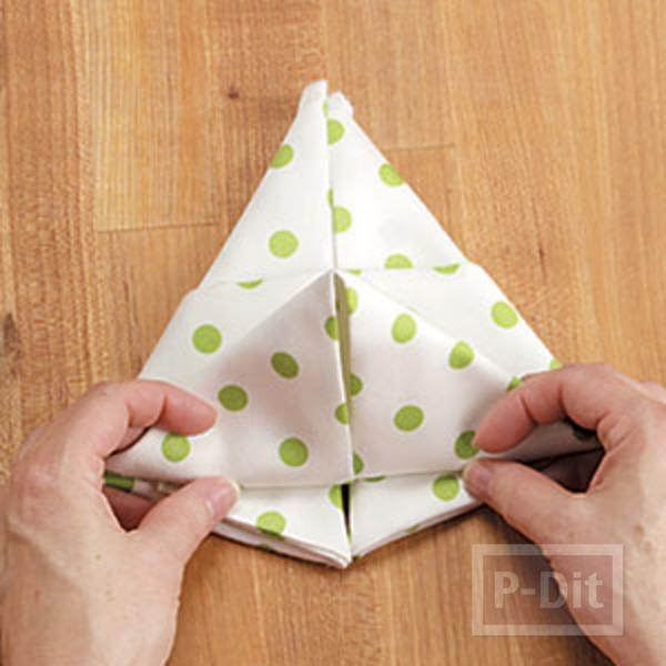 รูป 5 พับผ้าเช็ดมือ ลายกระต่าย