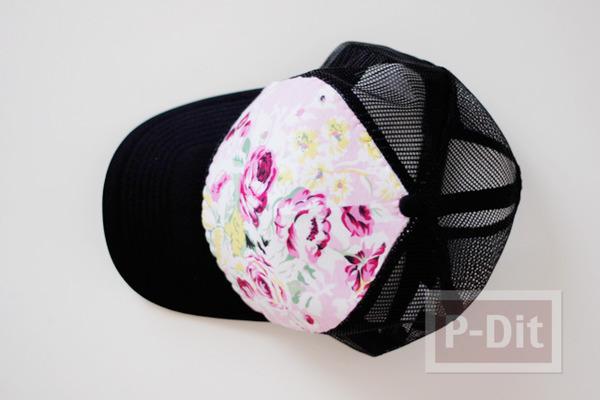 รูป 3 ตกแต่งหมวก ลายดอก จากผ้า