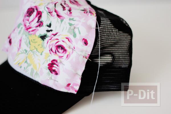 รูป 5 ตกแต่งหมวก ลายดอก จากผ้า