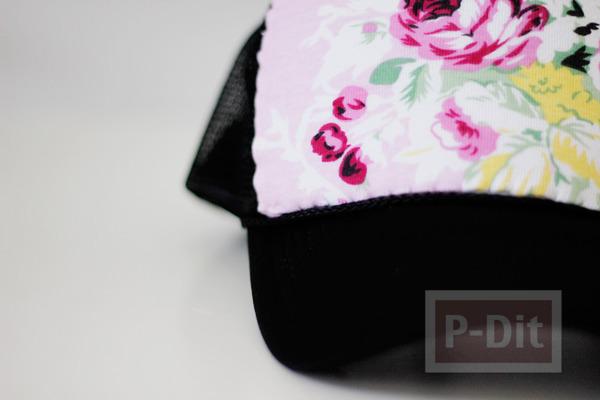 รูป 7 ตกแต่งหมวก ลายดอก จากผ้า