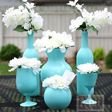 ขวดแก้ว แก้วน้ำ … พ่นสีสวย จัดดอกไม้