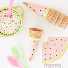 กระดาษห่อโคนไอศกรีม ลายแตงโม