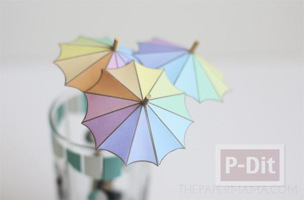 รูป 1 สอนทำร่มเล็กๆ ประดับแก้วน้ำ