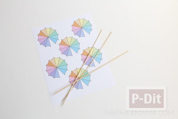 รูป 3 สอนทำร่มเล็กๆ ประดับแก้วน้ำ