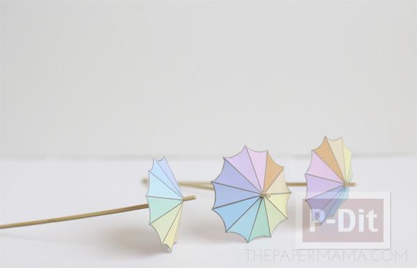 รูป 7 สอนทำร่มเล็กๆ ประดับแก้วน้ำ