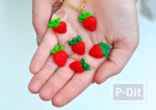 รูป 1 จี้ ต่างหู แหวน ลายสตรอเบอร์รี่ ทำจากดินน้ำมัน