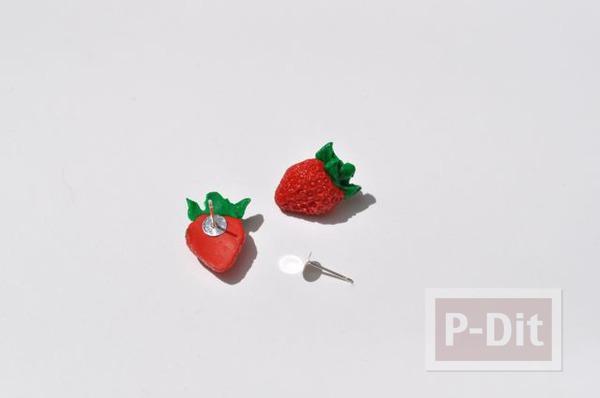 รูป 2 จี้ ต่างหู แหวน ลายสตรอเบอร์รี่ ทำจากดินน้ำมัน