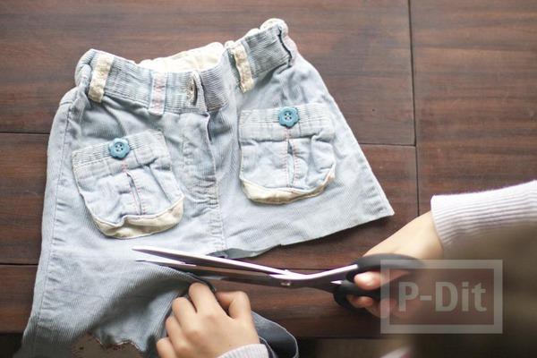 รูป 4 เย็บกระเป๋าสะพาย จากกางเกงยีนส์