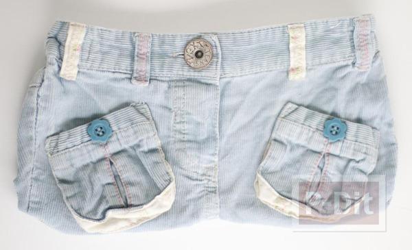 รูป 6 เย็บกระเป๋าสะพาย จากกางเกงยีนส์