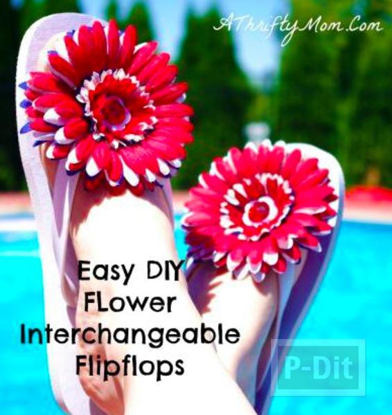รูป 2 รองเท้าแตะ ตกแต่งลายดอกไม้ สีสดใส
