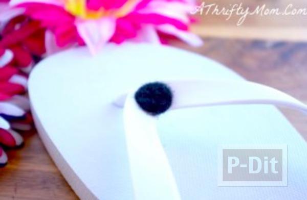 รูป 5 รองเท้าแตะ ตกแต่งลายดอกไม้ สีสดใส