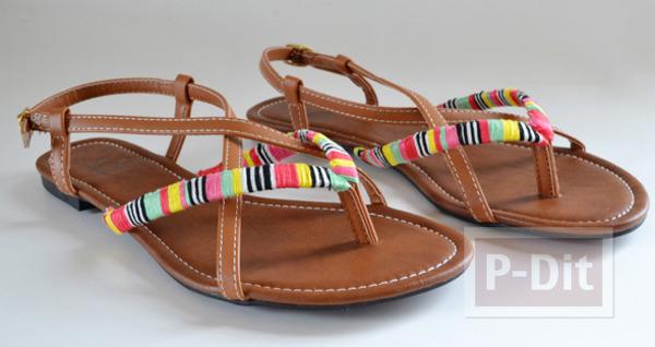 รองเท้ารัดส้นลายสวย ประดับด้าย สีสด