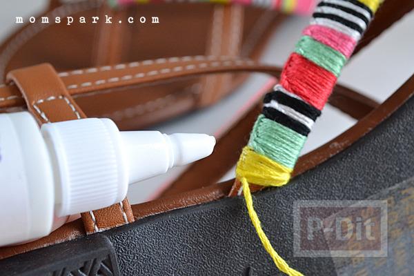 รูป 4 รองเท้ารัดส้นลายสวย ประดับด้าย สีสด