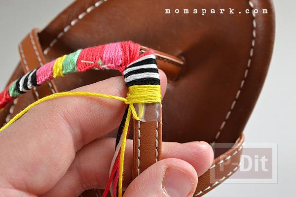 รูป 6 รองเท้ารัดส้นลายสวย ประดับด้าย สีสด
