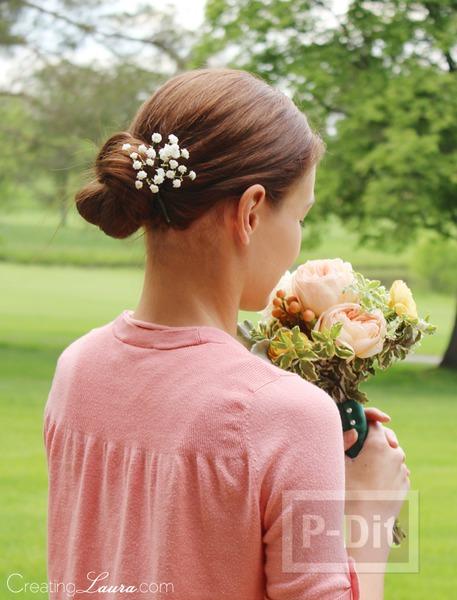 รูป 1 กิ๊บติดผม ทำจากดอกไม้สด