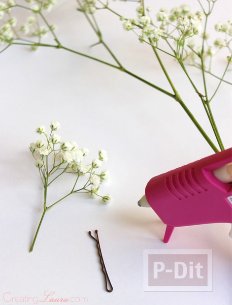 รูป 3 กิ๊บติดผม ทำจากดอกไม้สด