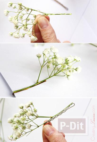 รูป 4 กิ๊บติดผม ทำจากดอกไม้สด