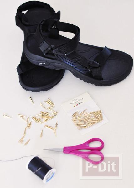 รูป 2 รองเท้ารัดส้นคู่สวย ประดับหมุดแหลม